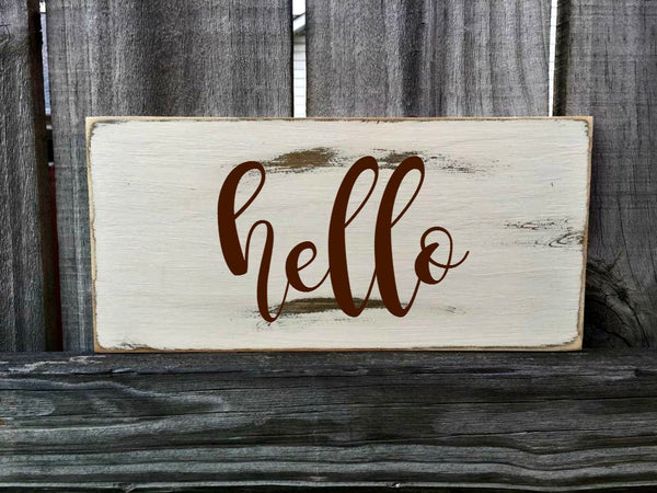 HELLO Rustic Sign / Distressed Wooden Sign / HELLO Vintage Sign / HELLO Rustic Sign