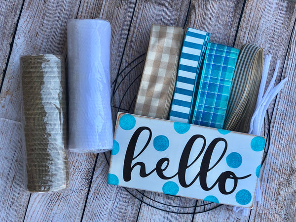 Hello Everyday Wreath Kit, Turquoise Wreath Kit, Wreath Supplies