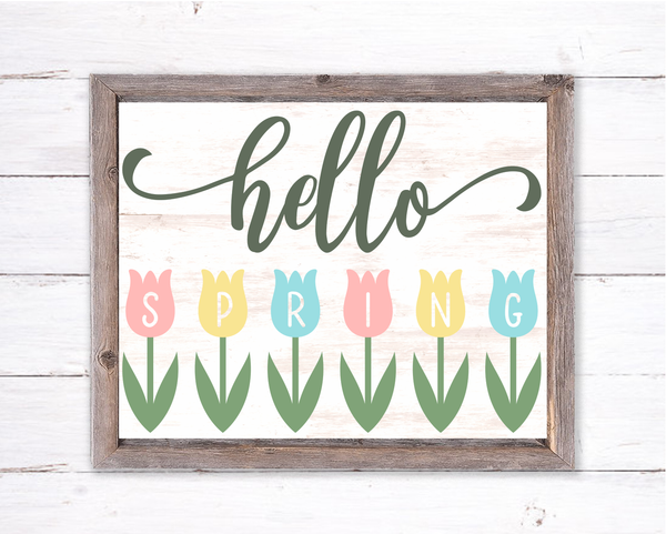 Hello Spring Flower Sign | Wreath Sign Attachment | Farmhouse Spring Sign