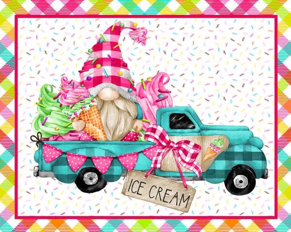 Ice Cream Gnome Truck Summer Sign, Wreath Sign Attachment, Rustic Sign. Summer Decor, Farmhouse