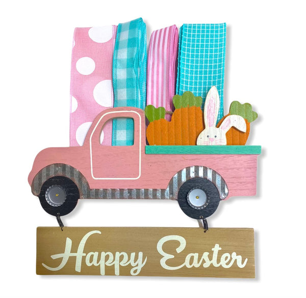 Pink Vintage Easter Bunny Truck Sign and Ribbon Kit,  Easter Spring Wreath Kit, Wreath Supplies