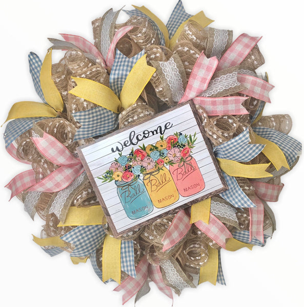 Welcome Floral Mason Jar DIY Wreath Kit, #S102