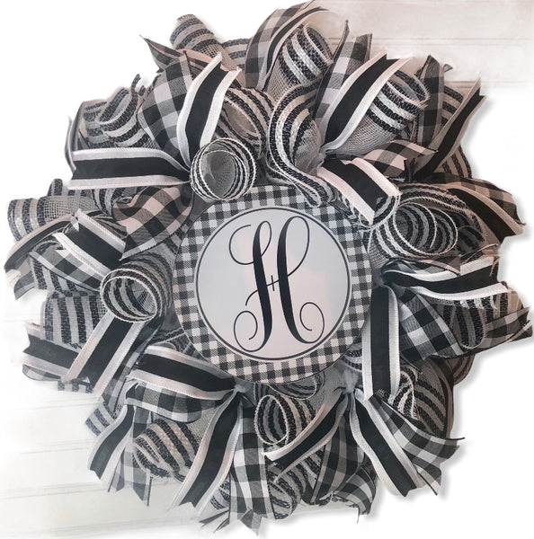 Initial Monogram Buffalo Check Everyday DIY Wreath Kit/ Wreath, #M001