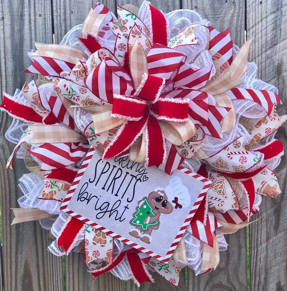 Gingerbread Wreath, Rustic Christmas Decor, Door Hanger, Farmhouse Decor