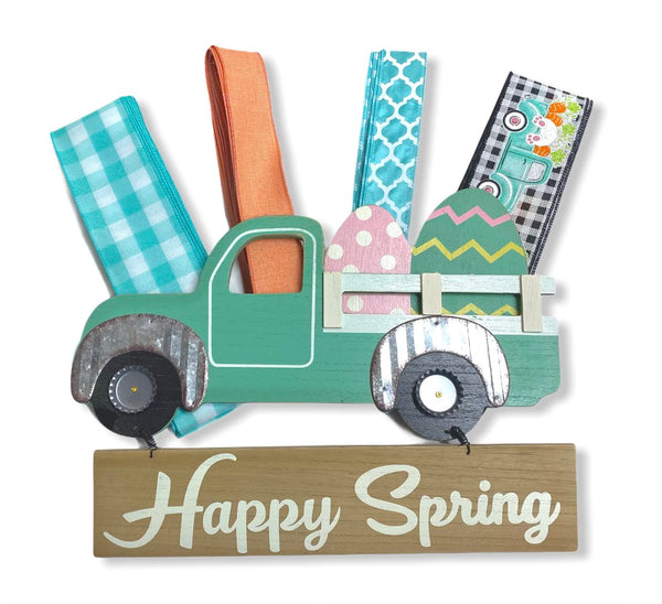 Aqua Vintage Easter Bunny Truck Sign and Ribbon Kit,  Easter Spring Wreath Kit, Wreath Supplies