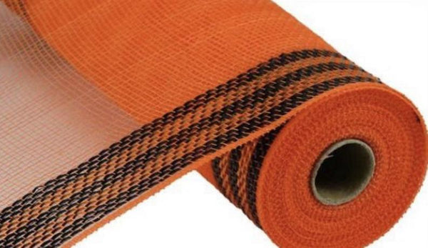 "Border Stripe Metallic Mesh Orange with Black Mesh 10.5"" x 10 YARD ROLL"