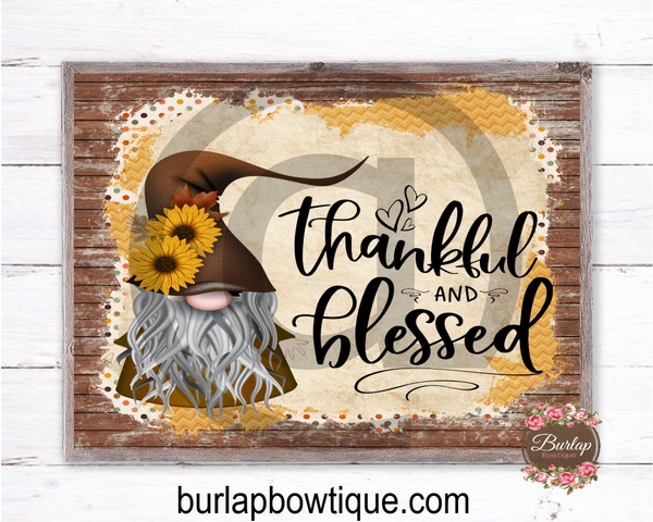 Thankful and Blessed Fall Gnome Sign, Wreath Sign Attachment, Rustic Sign, Farmhouse Decor