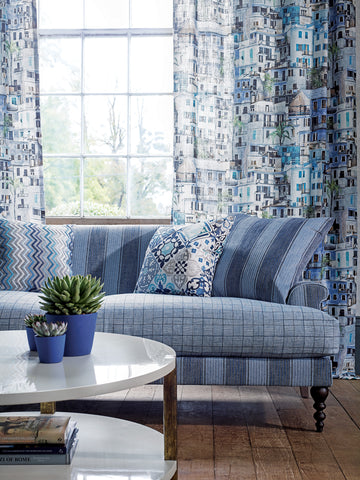The italian riviera is the inspiration for osborne s new collection of printed woven and embroidered fabrics with matching wallpapers in which the