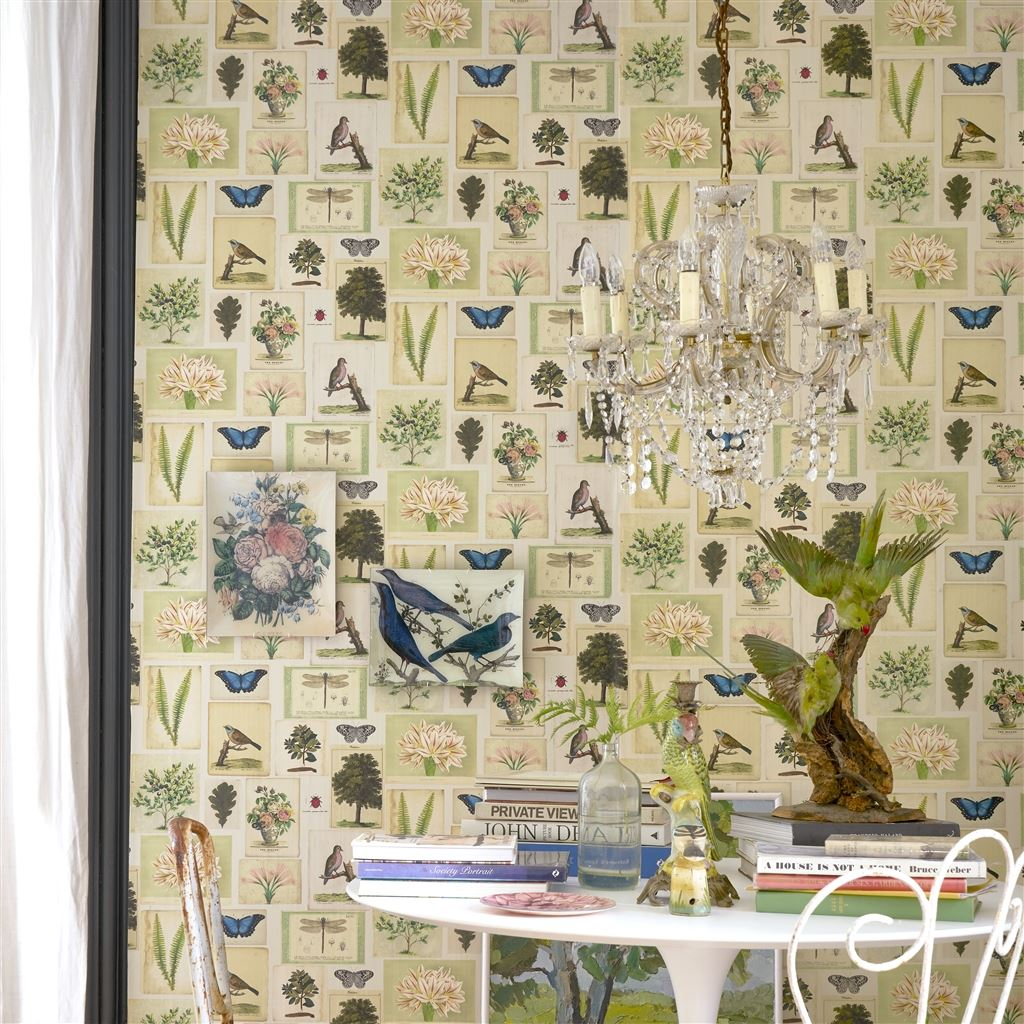 Flora and Fauna Parchment Wallpaper John Derian