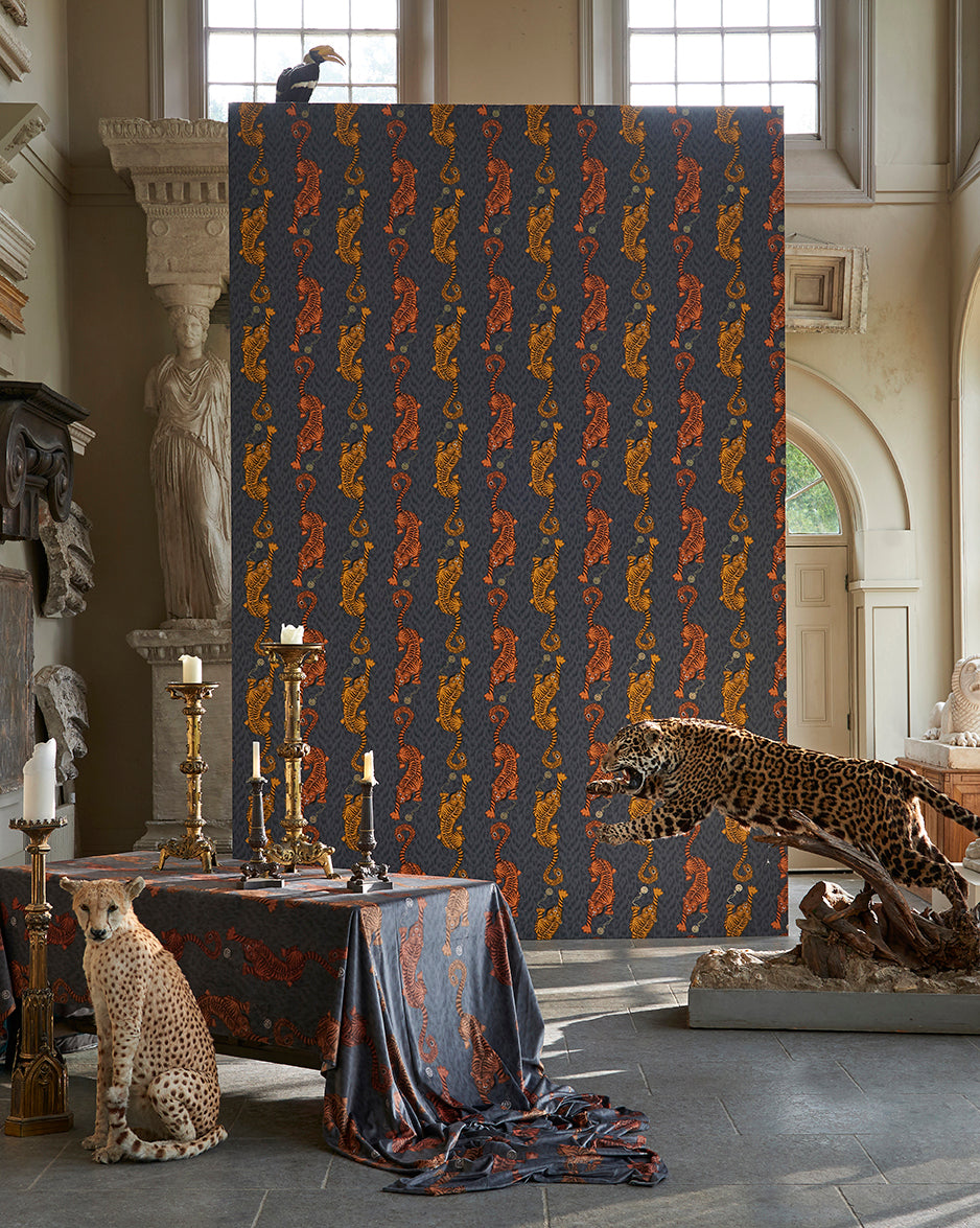 Tiger wallpaper and fabric Animalia collection