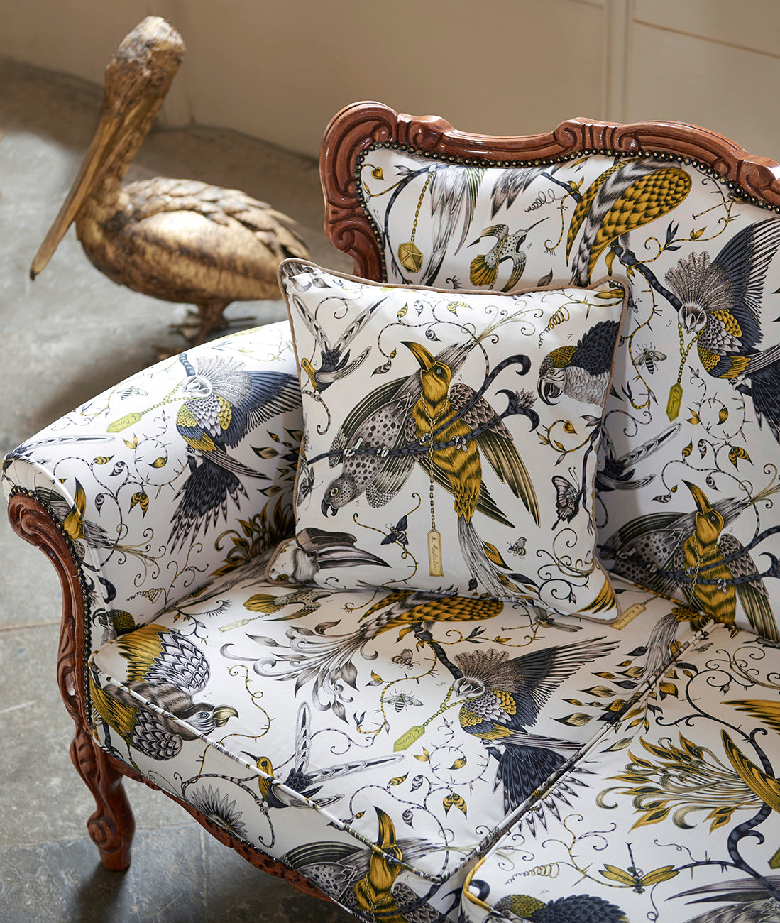 Animalia fabric on chair and cushion