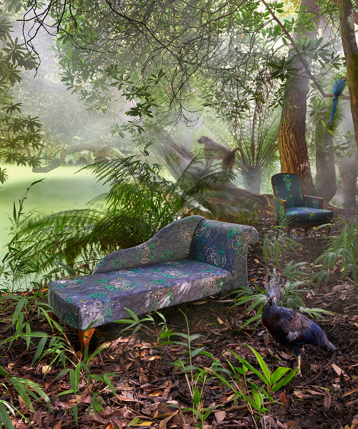 Chaise covered in Animalia Fabric