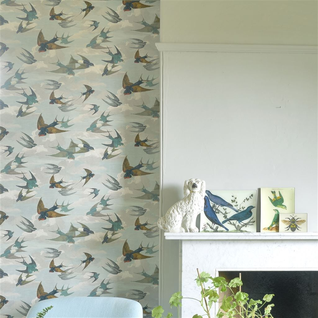 John Derian Chimney Swallows Wallpaper at Mister Smith interiors