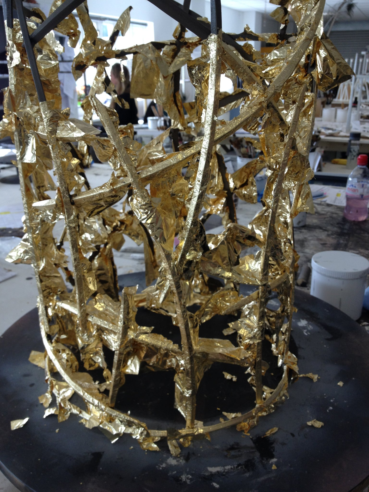 Porta Romana Gold Lamp Base in Progress