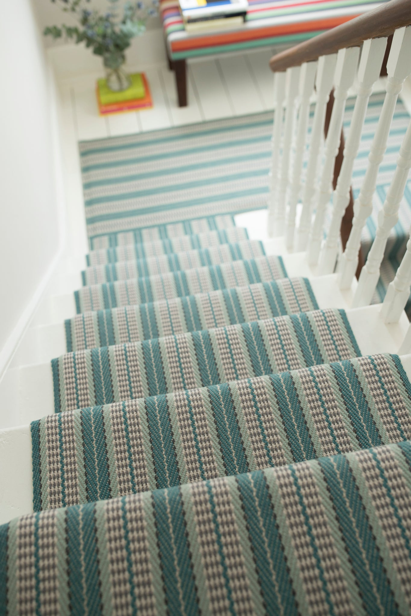 Roger Oates Stair Runner Vernon in Teal at Mister Smith Interiors