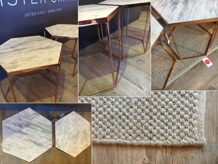 Copper Marble Side Tables and Woven Rug