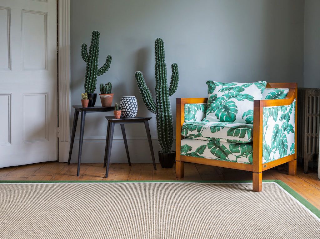 Cactus Armchair standing on pale grey rug with green border