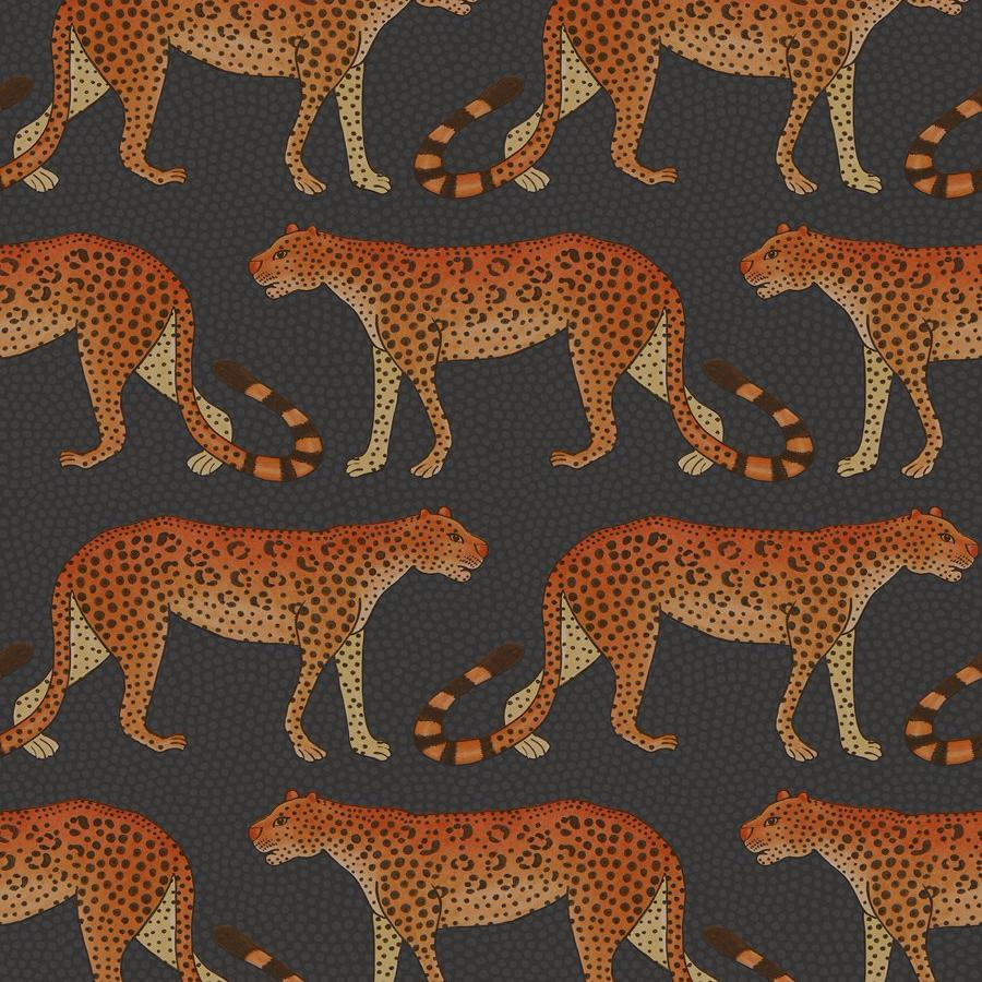 Leopard Walk Wallpaper - Olive & White - Cole & Son