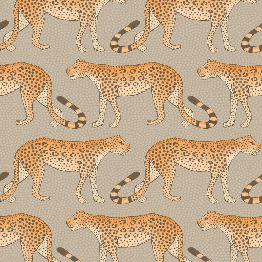 Leopard Walk Wallpaper - Stone - Cole & Son