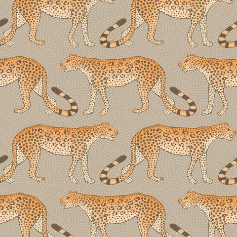 Leopard Walk Wallpaper - Charcoal & Orange - Cole & Son