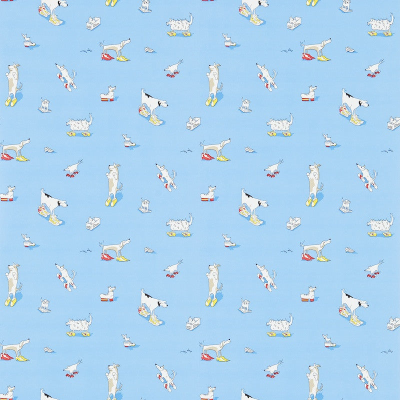 Dogs In Clogs Wallpaper - Yellow - Sanderson