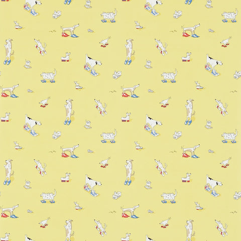 Dogs In Clogs Wallpaper - Blue - Sanderson
