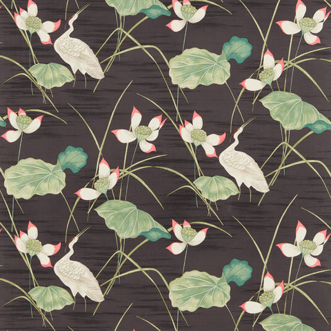 Heronsford Fabric - Black/Emerald - Sanderson