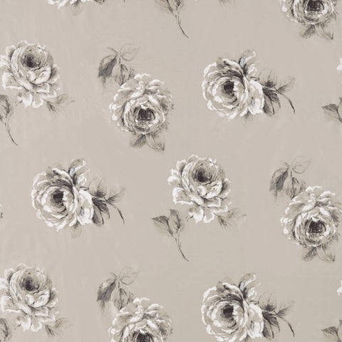 Rosa Silk Fabric - Charcoal - Sanderson