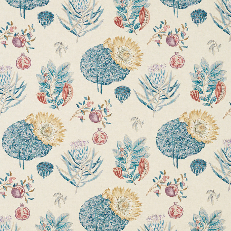 Lily Bank Fabric - China Blue/Linen - Sanderson