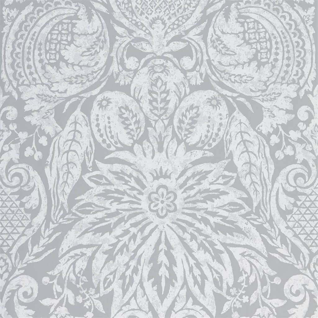 Mitford Damask Wallpaper - Stone - Zoffany