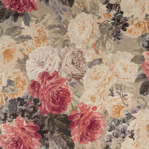 Rose Absolute Linen Fabric - White Opal / Mousseux - Zoffany