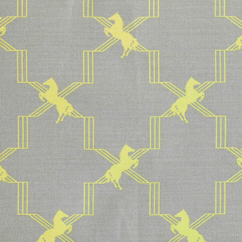 Horse Trellis Fabric - Acid Yellow on Grey - Barneby Gates