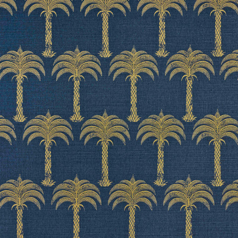 Marrakech Palm Fabric - Midnight Blue - Barneby Gates
