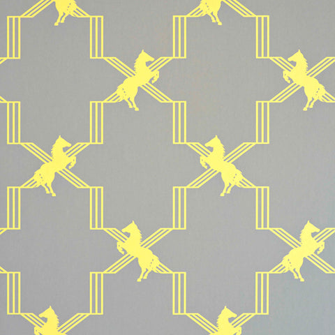 Horse Trellis Wallpaper - Acid on Grey - Barneby Gates