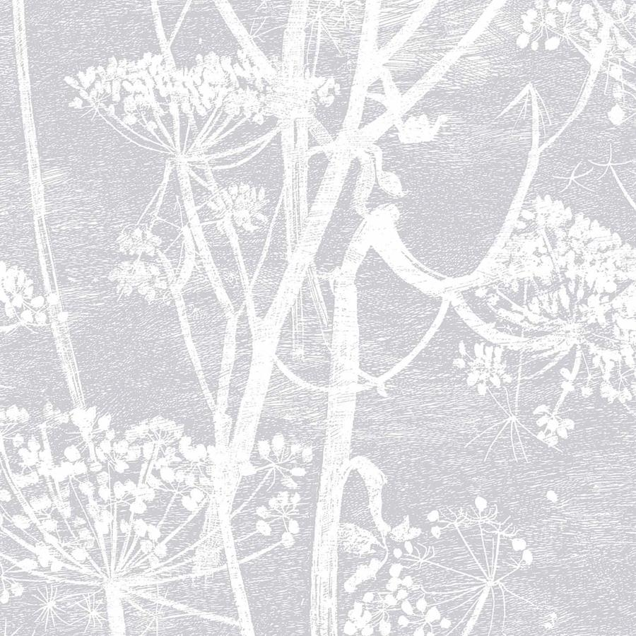Cow Parsley Wallpaper - Gilver on Black - Cole & Son