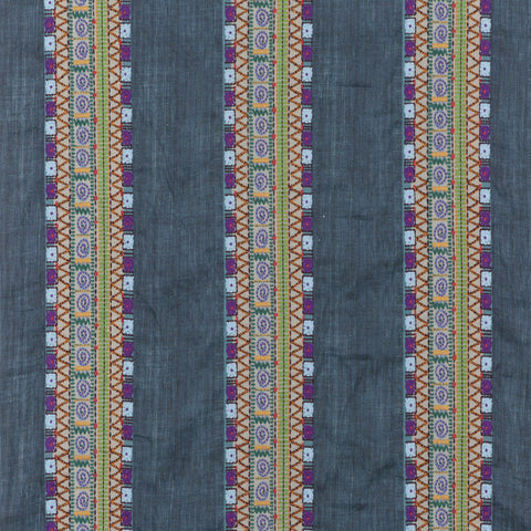 Bedouin Stripe Fabric - Indigo - Mulberry Home