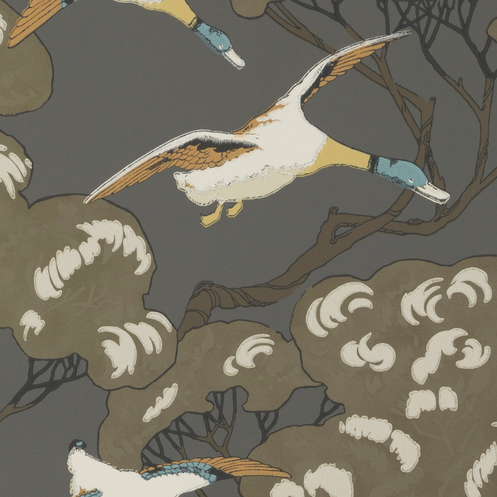 Flying Ducks Wallpaper - Charcoal - Mulberry Home