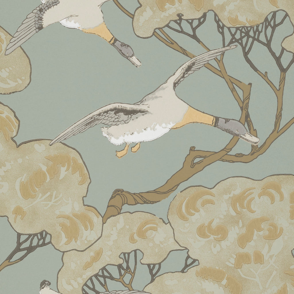 Flying Ducks Wallpaper - Coral Clay - Mulberry Home