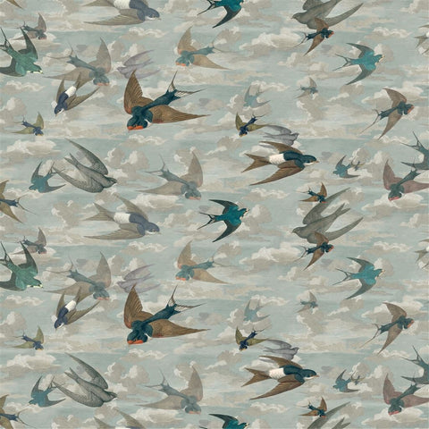 Chimney Swallows Fabric - Sky Blue - Designers Guild