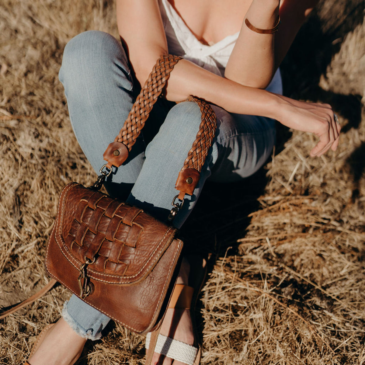 Vintage Stone-Washed Braided Crossbody #201