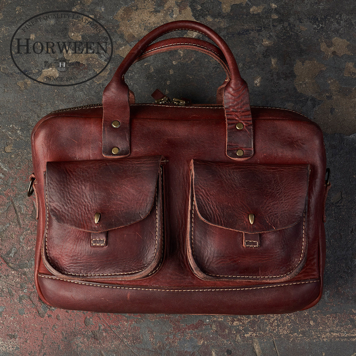 Vintage Stone-Washed Briefcase #100