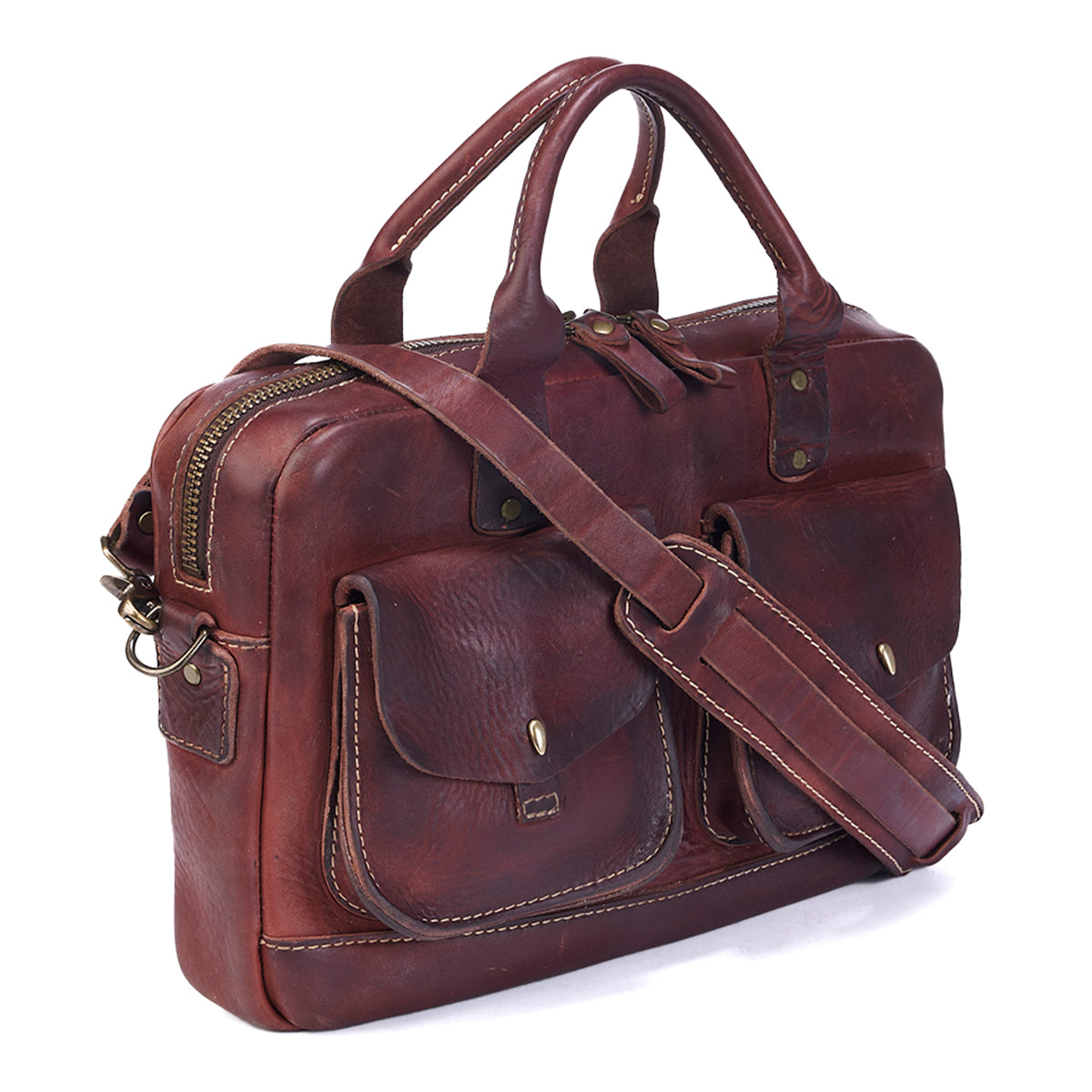 Stone-Washed Briefcase No. 100 (Russet LE)