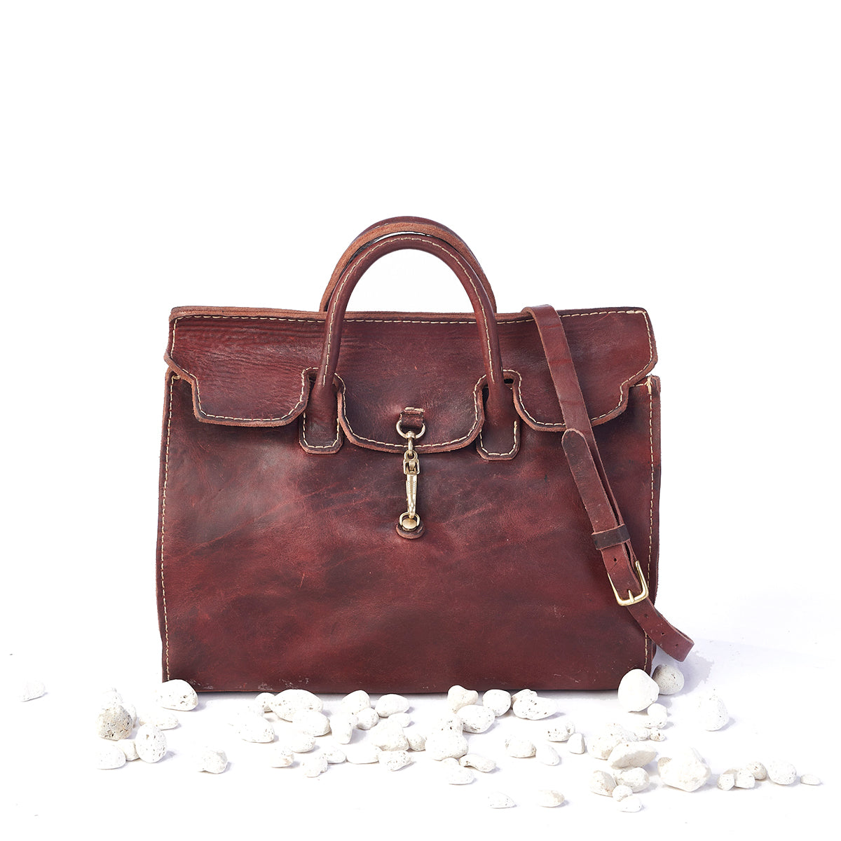 Stone Washed Satchel No. 930 (Russet)