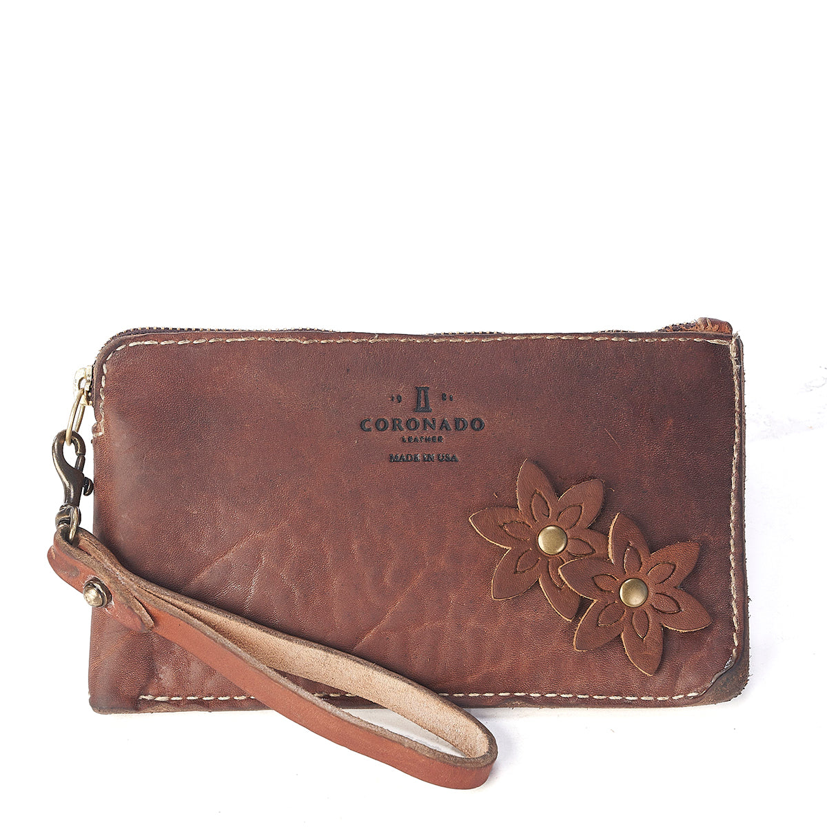 Stone-Washed Flower Wristlet