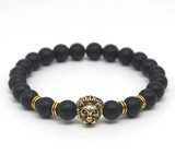 Gold Plated Lion Head Black Lave Stone Beaded Bracelet - Bullseye Discounts