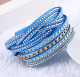 Multilayer Leather Rivet Bracelet Bangles - Bullseye Discounts