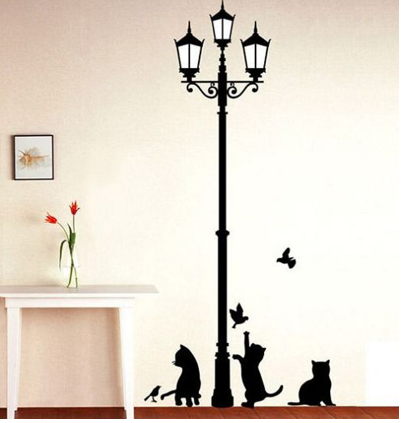 Ancient Lamp Cats and Birds Wall Sticker - Bullseye Discounts