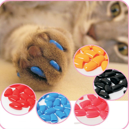 20 pcs - Colorful Soft Rubber Cat Kitten Nail Caps + Adhesive Glue - Bullseye Discounts