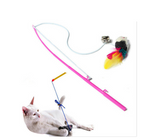 Colorful Mouse With Feathers And Bell Teaser Wand Stick For Cats Kitten Offer - Bullseye Discounts