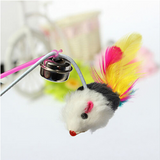 Colorful Mouse With Feathers And Bell Teaser Wand Stick For Cats Kitten Offer